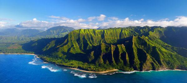 Voyage à Hawaii vue aérienne de l'île pendant une excursion grand tour préparé par routedhawaii.com