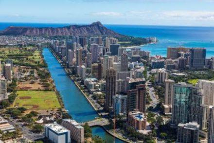 Circuit à Hawaii vue aérienne du canal à Honolulu durant un séjour organisé par routedhawaii.com